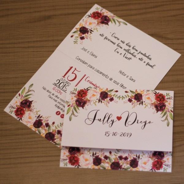 53 convite casamento marsala noivado flores barato simples
