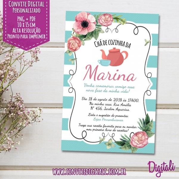 Convite chá de panela azul e rosa