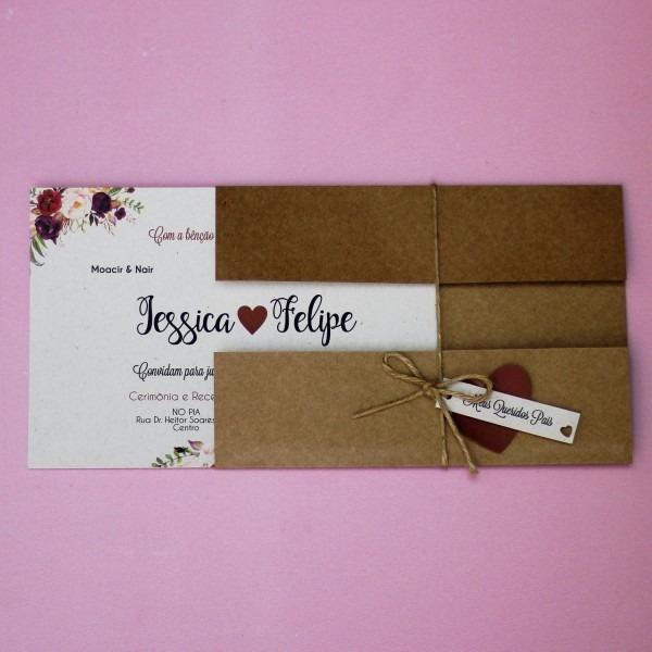 65 convites de casamento rústico marsalatag coração simples