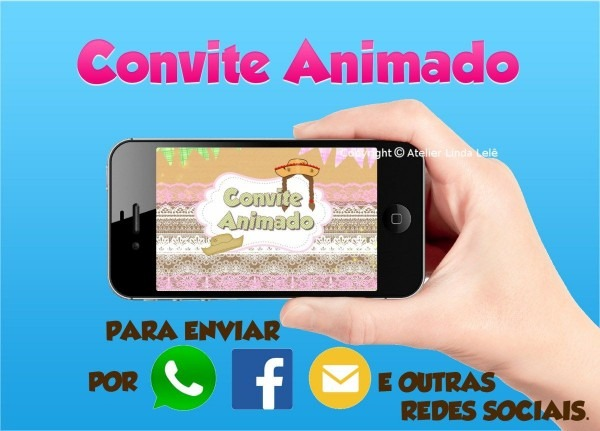 Convite animado festa junina convite para whatsapp, facebook