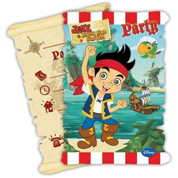 6 convites com envelopes jake e os piratas da terra do nunca