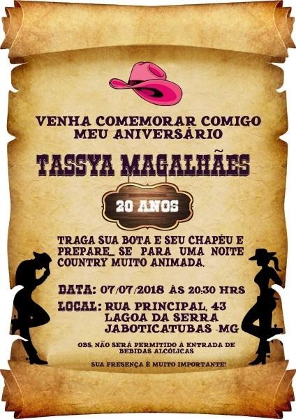 70 convite pergaminho country