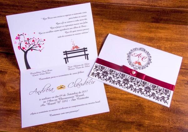 70 convites casamento + fita cetim