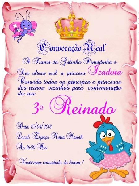 75 convite pergaminho rosa galinha pintadinha