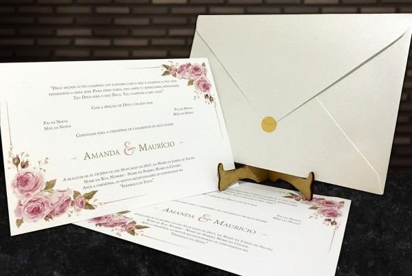 80 convites casamento clássico c  envelope