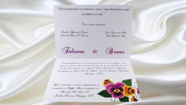 Convite de casamento em papel perolado