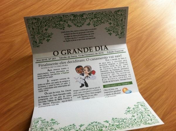 Convite casamento jornal