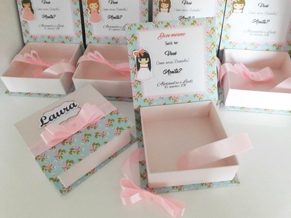 8 caixas convite para damas e pajens 12x12x4
