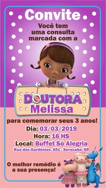 Arte convite digital aniversário doutora brinquedos whatsapp