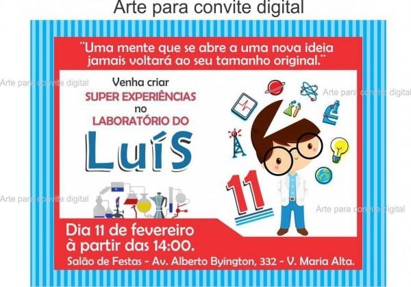 Arte convite digital cientista no elo7