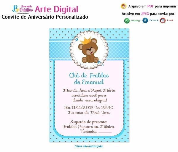 Arte convite digital personalizado chá de fraldas