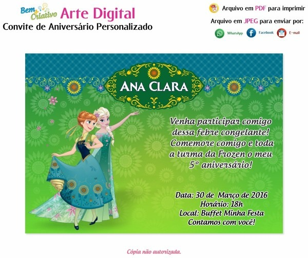 Arte digital convite aniversário frozen fever