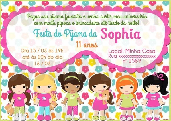 Arte digital convite festa do pijama no elo7