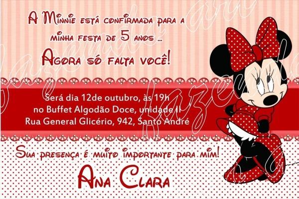 Arte digital convite minnie vermelha no elo7