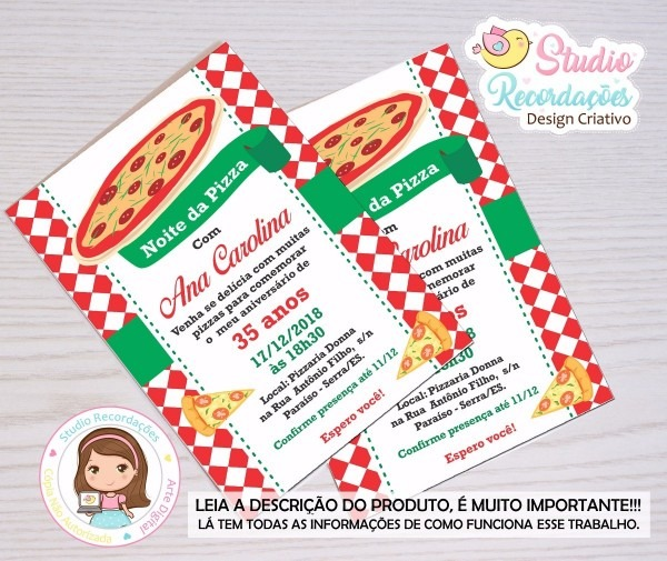 Arte digital de convite aniversário rodizio de pizza