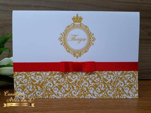 Convite 15 anos dourado e vermelho no elo7