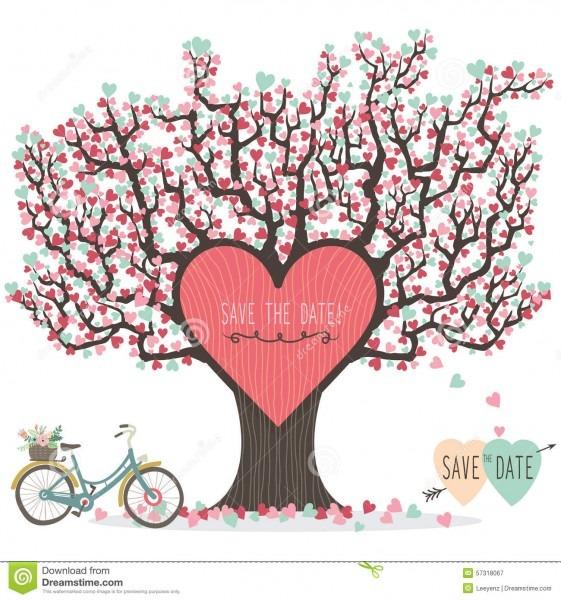Árvore de amor do convite do casamento ilustração do vetor