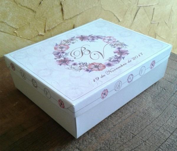 Caixa cartonada convite lembrança presente padrinhos logo
