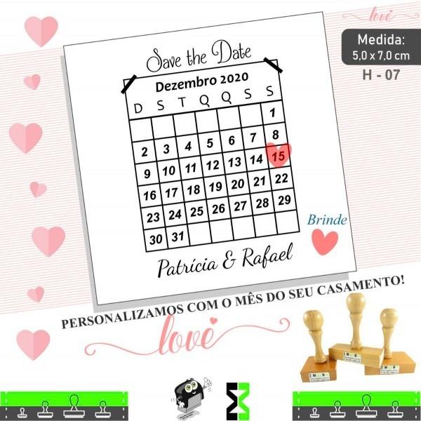 Carimbo convite calendário casamento save the date