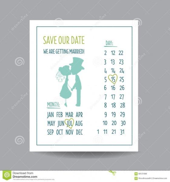 Cartão do convite do casamento com pares de beijo e um calendário
