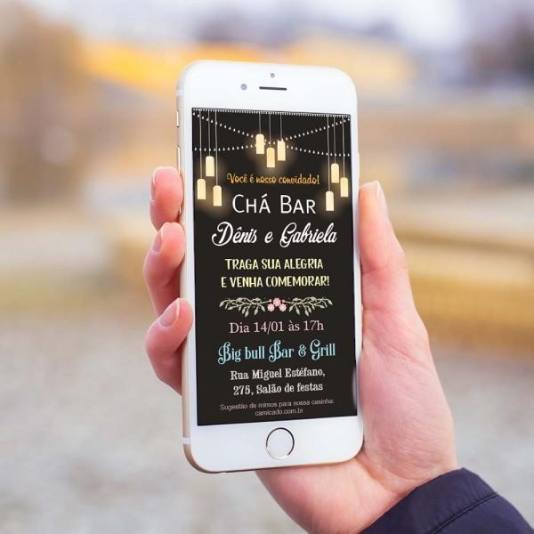 Convite digital chá bar luminárias chalkboard – convite digital