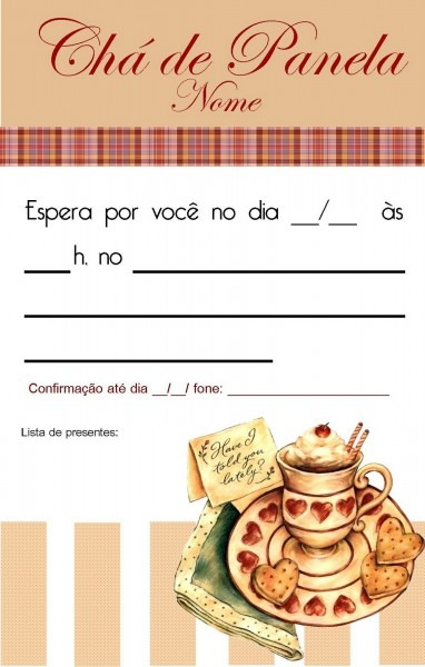 Jornal ponto com  modelos de convites para chá de cozinha