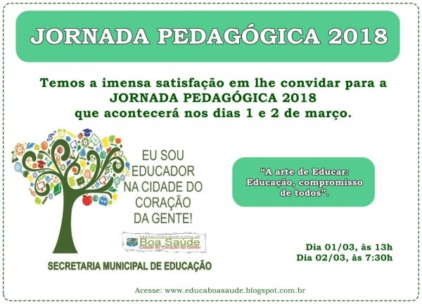 Convite para jornada pedagógica 2018 ~ educa boa saúde