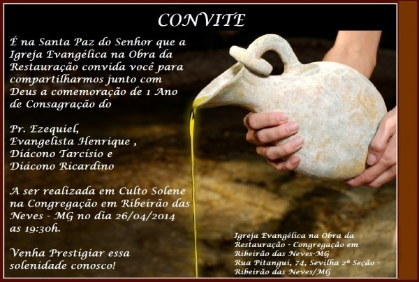 Convite – igreja evangÉlica na obra da restauraÇÃo – ribeirÃo das
