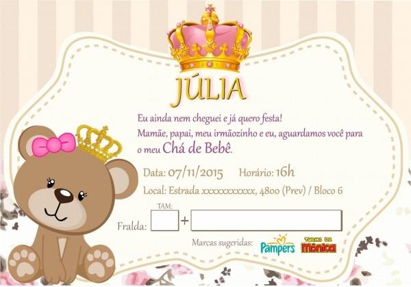 Convite de chá de bebê ( júlia )