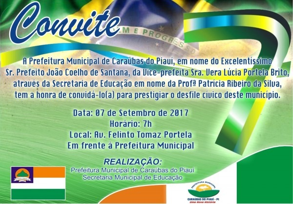 Portal diário caraubense  convite  desfile cívico de 07 de