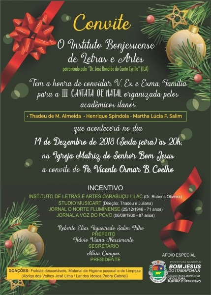 Convite para cantata de natal 2018 em bom jesus do itabapoana