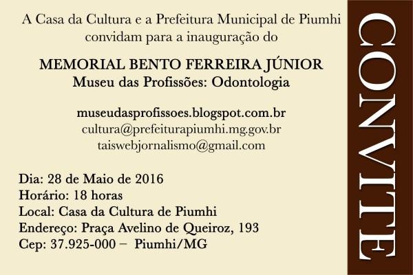Museu das profissões  odontologia  convite inauguração memorial