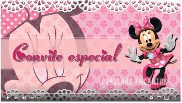 Convite animado minnie rosa no elo7