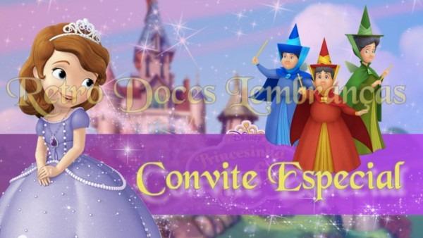 Convite animado princesinha sofia no elo7