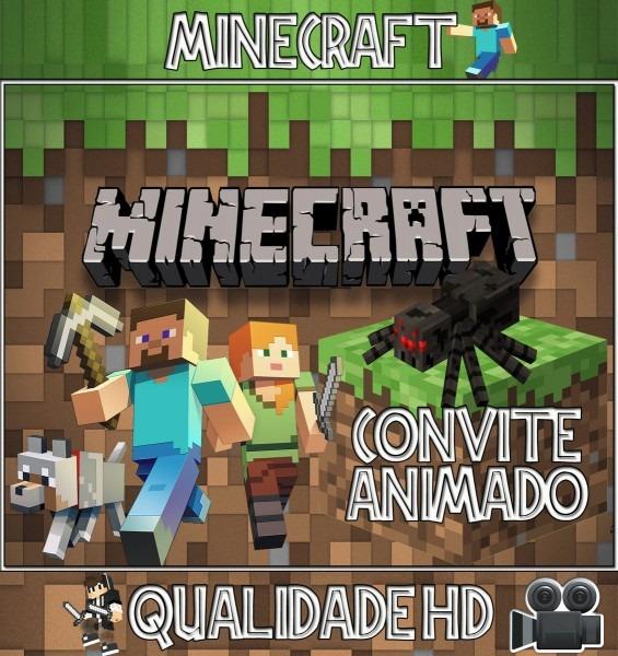 Convite animado (vÍdeo) para aniversário minecraft no elo7