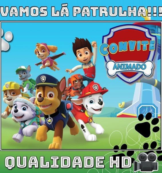 Convite animado (vÍdeo) para aniversário patrulha canina no elo7