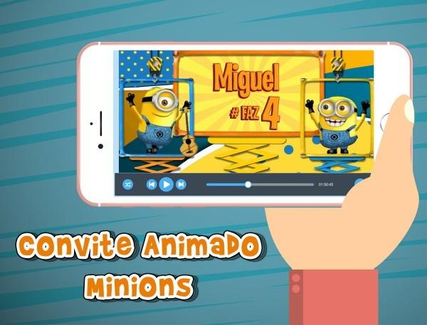 Convite animado virtual minions no elo7