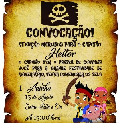 Convite de aniversario infantil pirata
