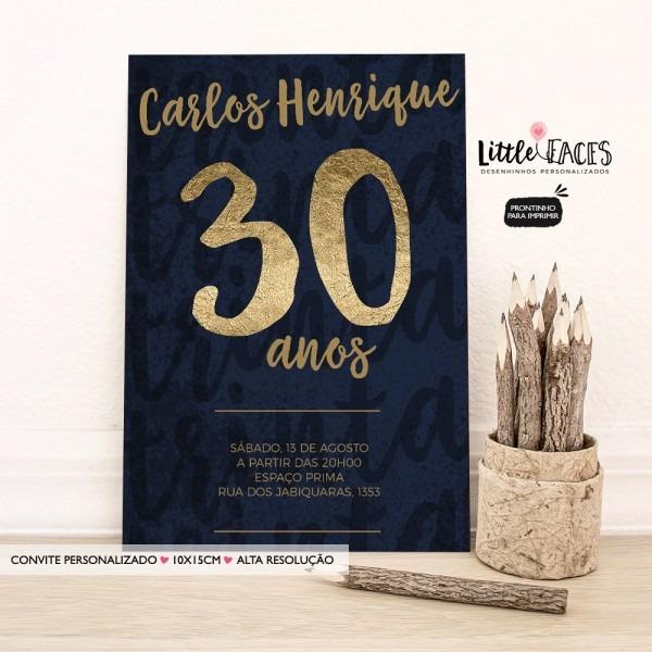Convite aniversário 30 40 50 60 70 80 anos dourado no elo7