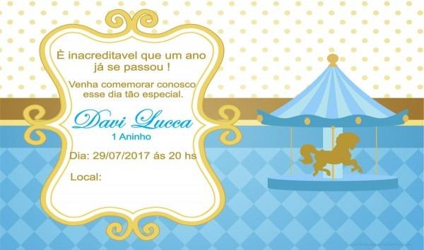 Convite aniversário carrossel azul e dourado no elo7