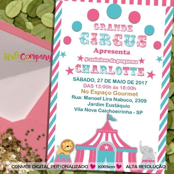 Convite aniversário circo menina no elo7