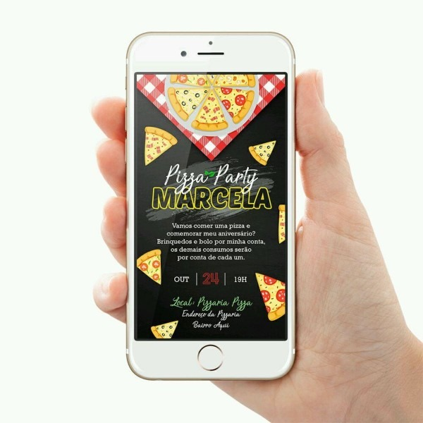Convite aniversário pizza arte digital envie no whatsapp no elo7