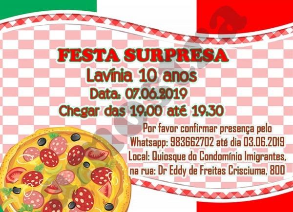 Convite aniversário rodízio de pizza no elo7