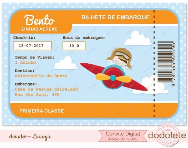 Convite digital aviador laranja no elo7