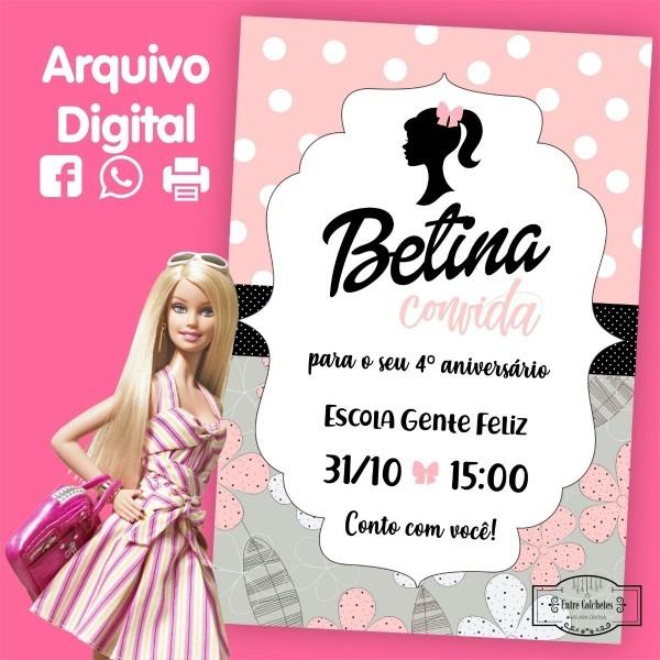 Convite barbie rosa e preto