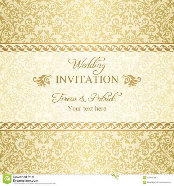 Convite barroco do casamento, ouro ilustração do vetor