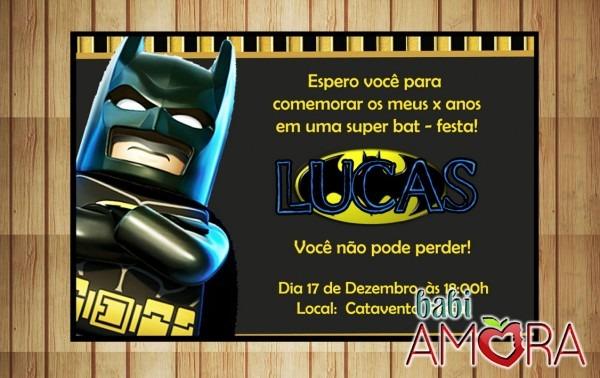 Convite batman lego no elo7