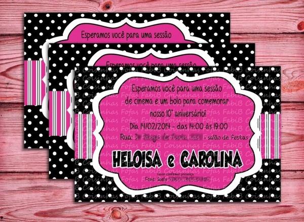 Convite black and pink no elo7