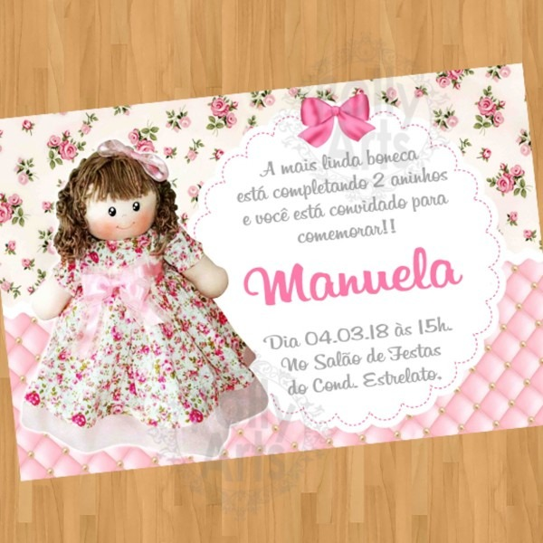 Convite boneca de pano arte digital virtual no elo7