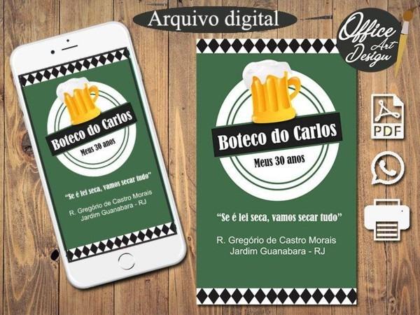 Convite digital boteco modelo 2 no elo7